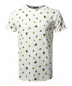 Men's Avocado Print Crew Neck Short Sleeve Tee - Made In USA