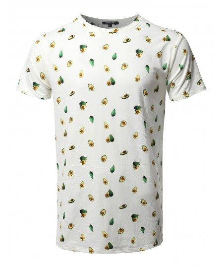 Men's Avocado Print Crew Neck Short Sleeve Tee - Made In USA
