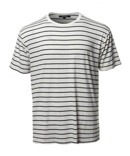 Men's Vertical Striped Crew Neck Tee - Made In USA