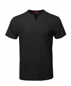 Men's Premium Quality V-Neck Henley Slub Cotton T-Shirt