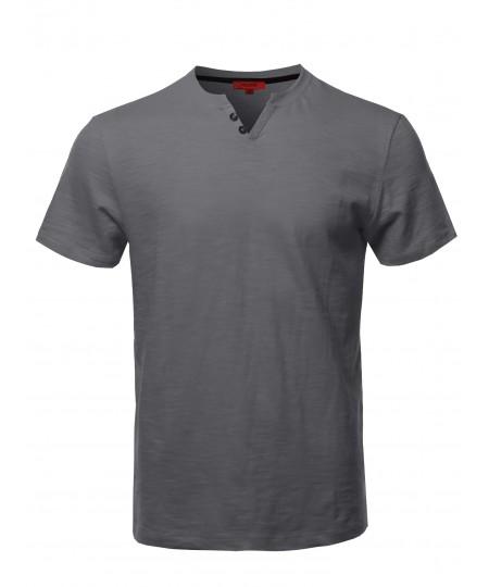 Men's Premium Quality V-Neck Henley Slub Cotton T-Shirt