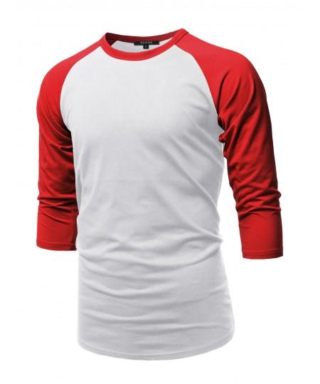 Men's Casual 3/4 Raglan Sleeve Baseball Top