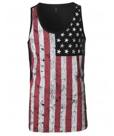 Men's American Flag Patriotic Sleeveless Tank Top