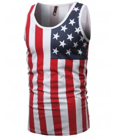 Men's Lightweight 4th of July American Flag Sleeveless Shirt Tank Top