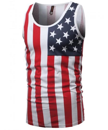 Men's Lightweight 4th of July American Flag Sleeveless Shirt Tank Top