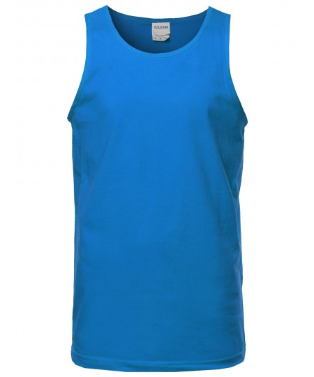 Men's Basic Solid Sleeveless Round Neck Tank Top Various Colors