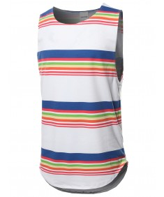 Men's Stripe Pattern French Terry Sleeveless Top