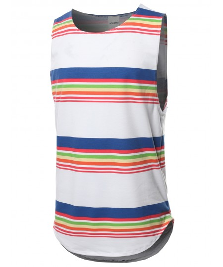 Men's Stripe Pattern French Terry Sleeveless Top