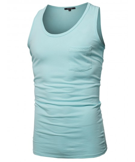 Men's Casual Chest Pocket Sleeveless Muscle Tank Top