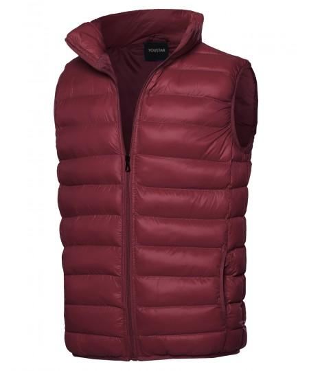 Men's Lightweight Packable Zip Puffy Outdoor Vest Jacket