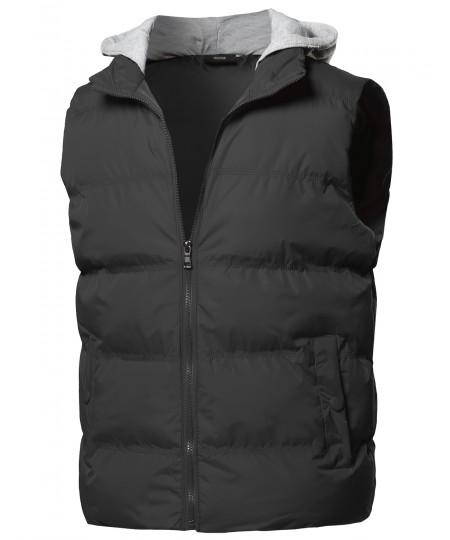 Men's Solid Drawstring Hooded Outdoor Padded Vest