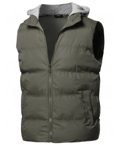 Men's Solid Drawstring Hooded Outdoor Padded Vest
