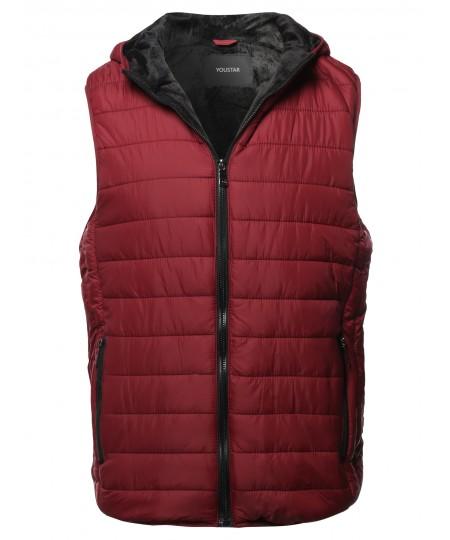 Men's Casual Light Padded Fur Lining Hoodie Vest