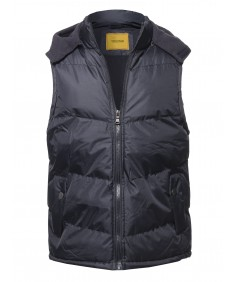 Men's Casual Detachable Hood Puffer Vest