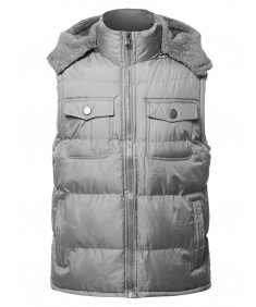 Men's Casual Detachable Hood Chest Pockets  Puffer Vest