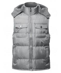 Men's Casual Detachable Hood Chest Pockets  Puffer Vest