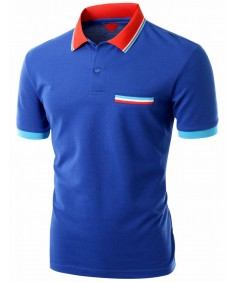 Men's Color Effect Collar Short Sleeve Polo T Shirt