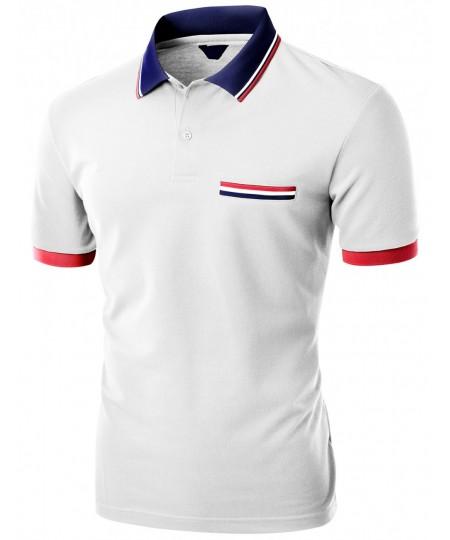Men's Color Effect Collar Short Sleeve Polo T Shirt