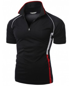 Men's Coolmax 2 Tone Collar Short Sleeve Zipper Polo Tee