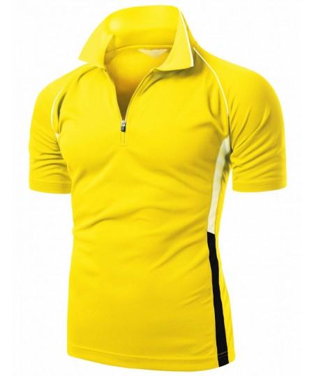 Men's Coolmax 2 Tone Collar Short Sleeve Zipper Polo Tee