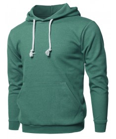 Men's Basic Solid Pullover Kangaroo Pocket Drawstring Hoodie Top