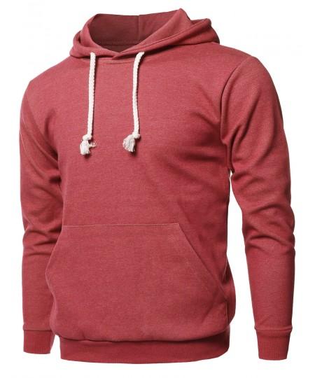 Men's Basic Solid Pullover Kangaroo Pocket Drawstring Hoodie Top