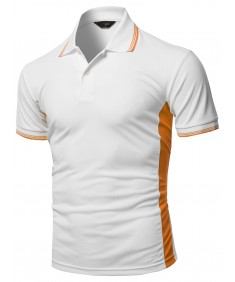 Men's Solid Contrast Color Line Coolon Fast Drying Polo Shirt