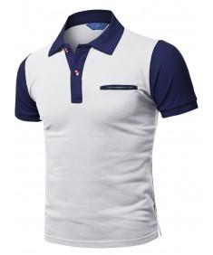 Men's Solid Basic Color Contrast Short Sleeve Pique Polo Shirt