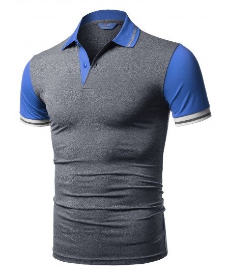 Men's Solid Cool Dri-Fit Contrast Short Sleeve Collar Polo