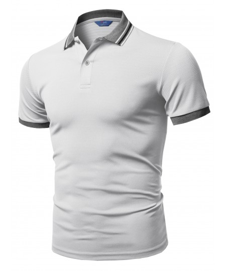 Men's Solid Cool Quick Dry Short Sleeve Collar Polo T-shirt Tee