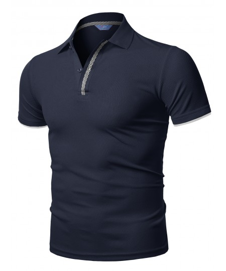 Men's Solid Cool Dri-Fit Double Layered Short Sleeves Polo
