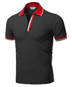 Men's Casual Triple Color Placket Detail Piqué Polo Shirts