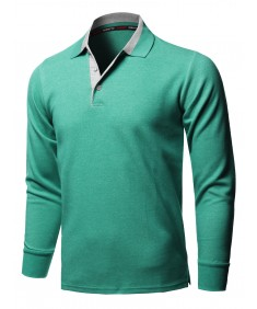 Men's Casual 100% Cotton Long Sleeves 2-Tone Collar Polo Top