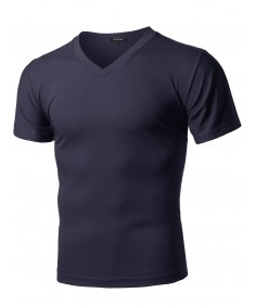 Men's Solid Soft Coolmax Active Short Sleeve V-neck T-shirt Tee
