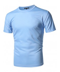Men's Solid Soft Coolmax Active Short Sleeve Crewneck T-shirt Tee