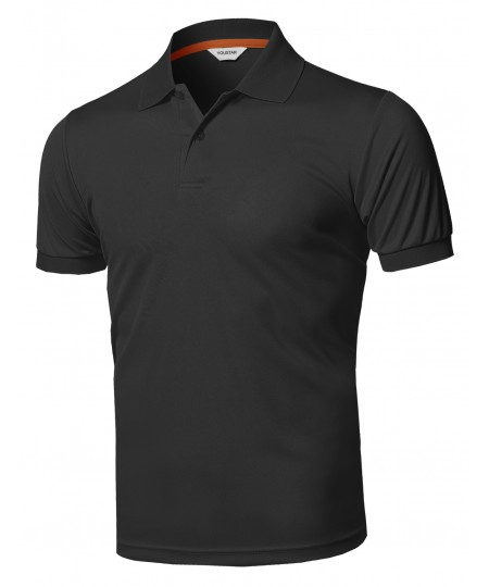 Men's Solid Cool Dri-Fit Active Short Sleeve Collar Polo T-shirt Tee
