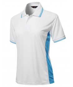 Women's Solid Contrast Color Line Coolon Fast Drying Polo Shirt