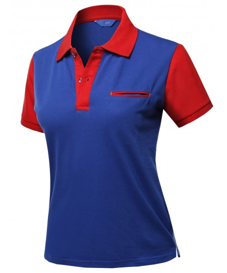 Women's Solid Basic Color Contrast Short Sleeve Pique Polo Shirt