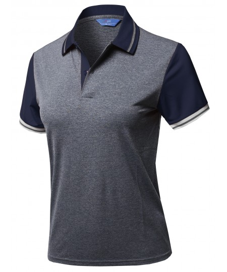 Women's Solid Cool Dri-Fit Contrast Short Sleeve Collar Polo