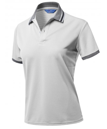 Women's Solid Cool Quick Dry Short Sleeve Collar Polo