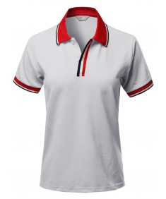 Women's Casual Triple Color Placket Detail Piqué Polo Shirts