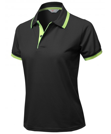 Women's Casual Short Sleeves Contrast Color Detail Piqué Polo Shirts