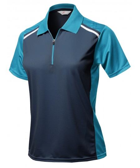 Women's Casual Lightweight Zip Up Neck Collar Line Detailed Shirts