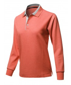 Women's Casual 100% Cotton Long Sleeves 2-Tone Collar Polo Top