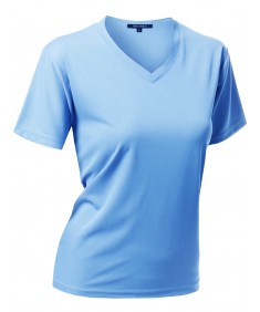 Women's Solid Soft Coolmax Active Short Sleeve V-neck T-shirt Tee