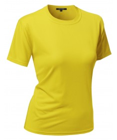 Women's Solid Soft Coolmax Active Short Sleeve Crewneck T-shirt Tee