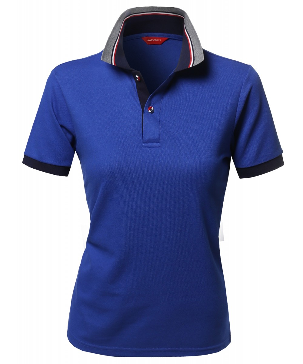 Women 39 S Solid Basic Short Sleeve Pique Knit Polo T Shirt