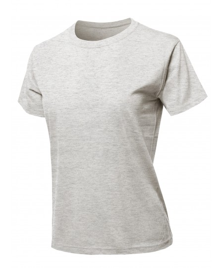 Women's Solid Cotton Based Basic Crew Neck T-Shirt Top