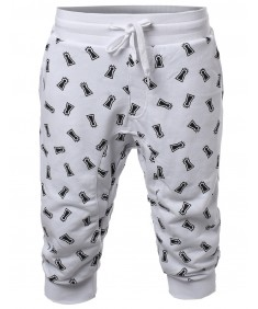 Men's New Stylish Casual Lighthouse Printed Jogger Harem Crop Pants