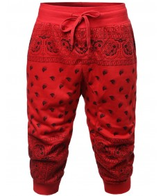 Men's New Stylish Casual Bandana Printed Jogger Harem Short Pants
